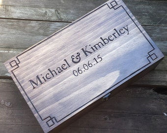 Personalized Double Wine Box, Rustic Wedding wine box, First Fight Box, Card box, Memory Box, wine box ceremony, anniversary gift