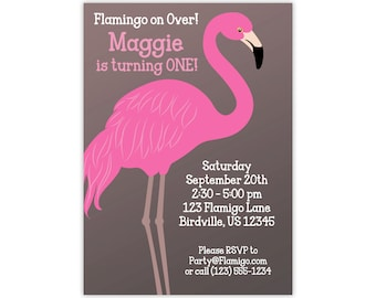 Flamingo Invitation - Cute Gray Brown Pink Flamingo, Girl's Hot Pink Flamingo Personalized Birthday Party Invite - a Digital Printable File