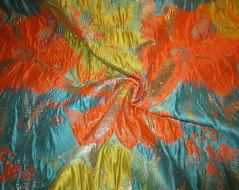 REMNANT--Turquoise Orange and Chartreuse Floral Design Imported Metallic Brocade Fabric--2/3 Yard