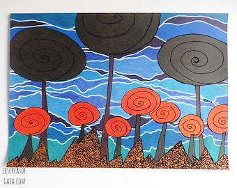 """Foreign land """"original"""" • ink and felt on paper, A4 drawing nature Theme • •"""