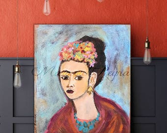 Frida Kahlo Portrait Art Print from Original Painting