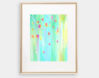Abstract purple yellow teal magenta imaginative colorful modern whimsical trippy imaginative painting art artwork print