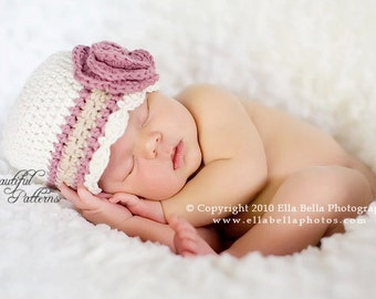Crochet Hat Pattern Baby Crochet Hat Flower Flapper Hat with Rose PDF 100 Newborn to Adult  Photo Prop Instant Download