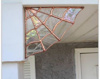 Copper Stained Glass Spider Web, stained glass, wall decor, garden decor, home decor, glass art, wall art, bohemian, boho, art, copper decor
