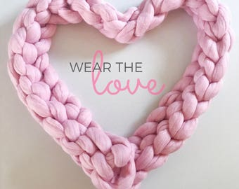 Wear the love Chunky knit Cosy Jessica Scarf long | Sumptuous Merino wool treats for you & your home