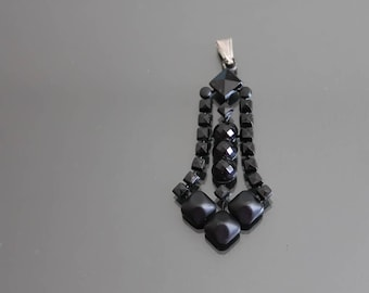Victorian Vauxhall Glass Black Enamel Faceted Glass Mourning Dangle Pendant