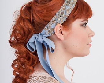 Antoinette Beaded Ribbon Headband Antique Gold And Mist Blue