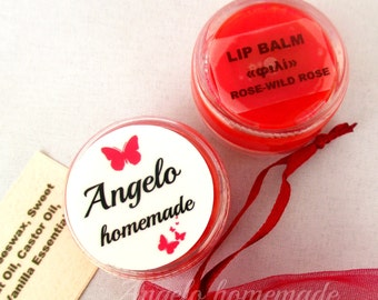 Lip Balm Rose Wild Rose, Natural Lip Balm, Lip Moisturizer, Lip Butter, Organic Lip Balm, Lip Care, Chapstic, Chapped Lips, Organic Chapstic
