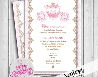 "Cinderella Princess Party ""One Upon A Time"" Invitation"
