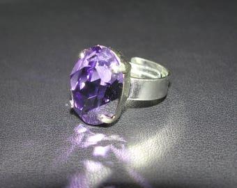 Ring Crystal Swarovski (R) oval cabochon genuine Tanzanite color