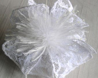 Large fabric flower hairclip (lace), feathers and beads