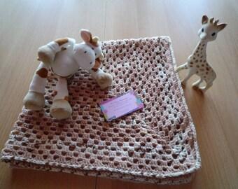 CLEARANCE - Brown beige granny crochet baby blanket