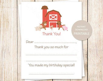 PRINTABLE farm thank you cards . birthday fill in the blank thank you . pony, farm, cow, animals . INSTANT DOWNLOAD