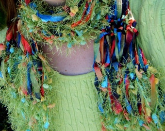 READY to SHIP - Lime Green Fettuccine, Macaw Ribbon Handknit Scarf - POW, Multi-Color Tropical Rainbow, Right in the Kisser