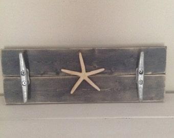 Starfish boat cleat towel rack