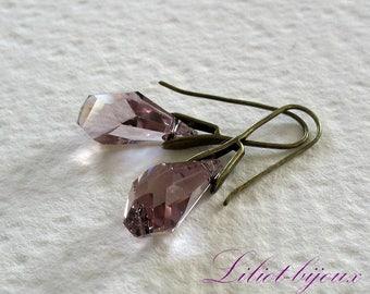Earrings drops light purple Swarovski Crystal