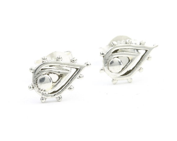 Sterling Silver Paisley Earrings, Paisley Posts, Ethnic Stud Earrings, Yoga, Boho, Gypsy, Festival Jewelry