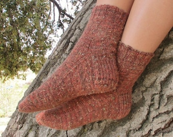 Handspun Handknit Socks. Orange Harvest Colors. Wool Socks. OOAK.