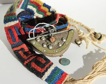 Vintage Ethnic Hand Woven Wool Belt with Pouch of Metal Leather and a Stone