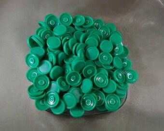GREEN 100 Small Kelly Green Vial caps medicine flip off badge reel crafts kelly button size st particks day four leaf clover shamrock