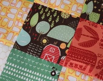Farm Minky Blanket, Animals Baby Blanket, Baby Boy Blanket, Baby Girl Blanket, Baby Bedding, Baby Quilt, Patchwork Blanket