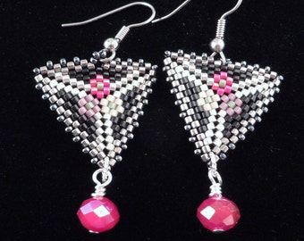 Triangle Earrings, Peyote Earrings, Delica Beaded Earrings, Dangle Earrings, Drop Earrings,