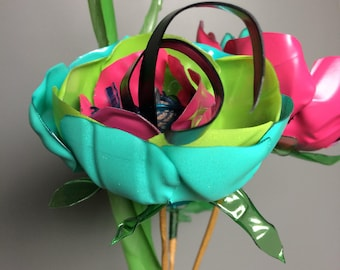 Bunch of 6 Funky Flowers made from upcycled plastic bottles