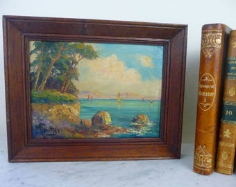 Vintage French Painting, Signed Oil Painting, Impressionist Ocean on Board , Wood Framed, Found in France, Coastal Decor