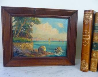 Jahrgang Französisch Gemälde signiert Öl-Gemälde, Impressionist Ozean an Bord, Holzrahmen, gefunden in Frankreich, Küsten Dekor