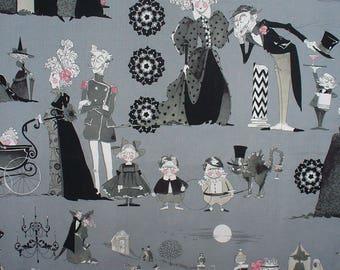 Ghastlies Family Reunion, Yard, Alexander Henry, Gray Background, Ghastlies Fabric, Ghastlies Scenes, Goth Family, Cotton Fabric