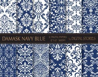 """Damask Digital Paper: """"DAMASK NAVY BLUE"""" digital paper with vintage elements in blue patterns for scrapbooking, invites"""
