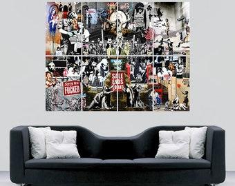 Banksy Collage Poster Graffiti street wall art print image giant huge