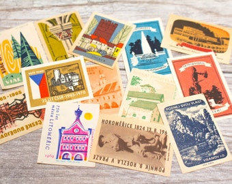 Vintage European Matchbox Labels Europe Buildings Altered Art Collage Decoupage