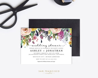 Wedding Shower Invitation INSTANT DOWNLOAD | Editable Wedding Shower Invite Template | Pink, Floral | Printable PDF File - Ashley Collection
