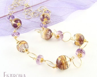 Serale lavanda - gold-plated necklace with Murano glass and amethyst