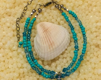Blue Sea Shell Ankle Bracelet
