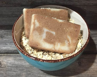 Oatmeal, Coconut Milk, & Honey - Natural Cold Process Bar Soap - Vegan -Handmade - Fathers Day gift