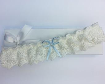Frilly ivory lace garter, wedding garter, ivory garter, pearl garter, something blue wedding garter