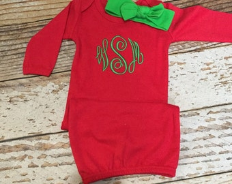 Baby girl Christmas outfit, Monogrammed Christmas gown with knot headband, newborn red and green outfit, baby Christmas pajamas,