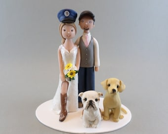 Unique Cake Toppers - Bride & Groom with Dogs Custom Handmade Wedding Cake Topper
