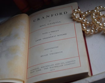"""Antique """"Cranford"""" by Mrs. Gaskell illustrated pocket classic published c1902"""