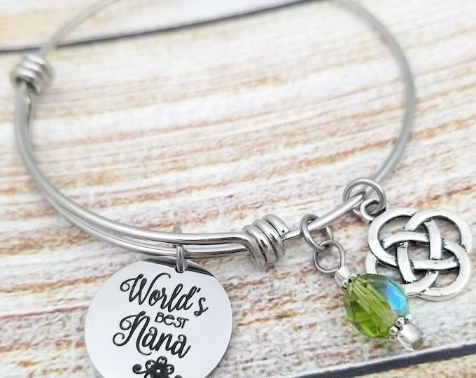 Worlds Best Nana Customizable Expandable Bangle Charm Bracelet, nana, grandmother, special, love, grandchild, gift, mother's day