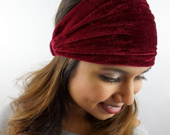 Velvet Velour Wide Headband Stretch Wine Red Headband Womens Wide Head Wrap Turband Workout Yoga HeadBand or CHOOSE Your Color