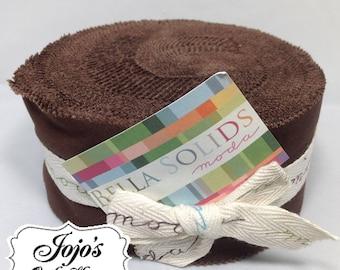Bella Solids Jelly Roll Dark Brown by Moda Fabrics SKU 9900JR 71
