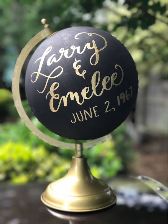 Custom Calligraphy Globe / Black Chalkpainted Globe / Gold Calligraphy Globe / You Choose Custom Wording / Wedding Guest Book Globe /Nursery