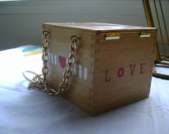Retro Cigar box purse with Vintage Red Heart