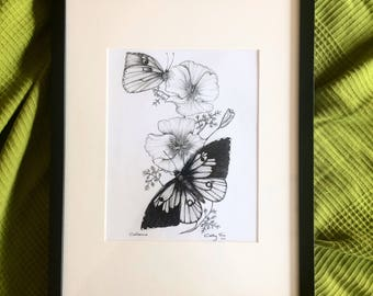Dog faced butterfly and California poppy illustration 6x9inch on 10x13inch acid free paper unframed