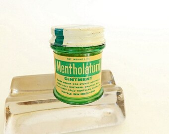 Vintage Medicine Bottle, Mentholatum Ointment, Drug Store Decor, Pharmacist Collectible, Pharmacy Decor, Apothecary Decor, Doctor Office