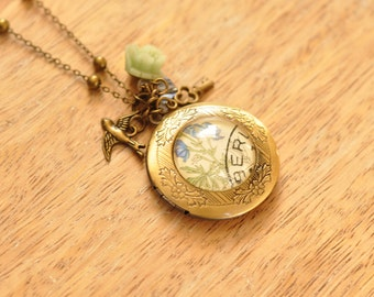 Zuzana Vintage Czech Stamp Locket Charm Necklace