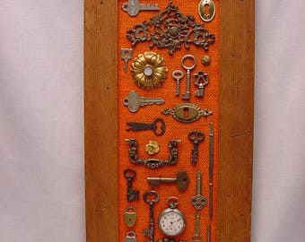 Collage Collection of Antique Keys Hardware Locks Watch Bits & Bobs Framed Wall Hanging